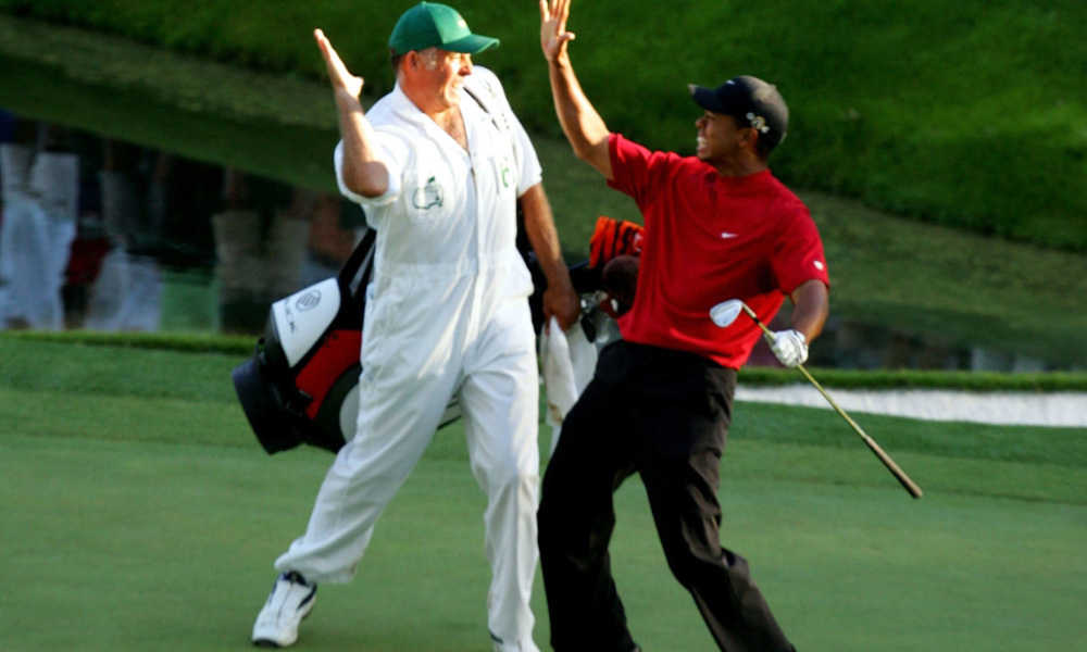 Tiger Woods and Steve Williams on #16 after his chip in birdie at the 2005 Masters.